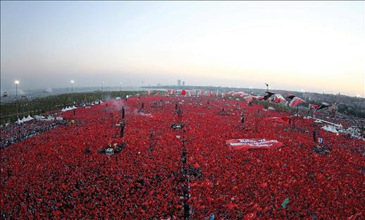 Party leaders addressed millions in Yenikapı Square, where people flocked by millions.